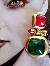 ~ Important Designer Gripoix Cabochon Red Green Gold t Clip On Pendant EARRINGS