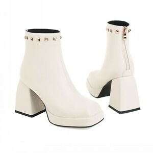 New Women's Chelsea Block Heel Square Toe Ankle Boots Casual Zip Up Shoes 34-43