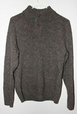 Bullock & Jones Men's Large 100% Merino Wool Pullover Sweater Brown Pre-Owned