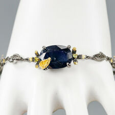 Vintage Natural Blue Sapphire 925 Sterling Silver Bracelet Inches 8.5/BR03295