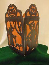 "American Halloween 4 Sided 10"" Lantern w/WITCH Blk CAT OWL ~ Die Cut -Nr MINT #2"