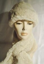 NEW! Sheepskin, White WARM & thick scarf and hat Real Leather Shearling Lambskin