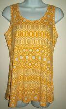 cato womens top sz m orange geometric sleeveless cut out back tank summer beach