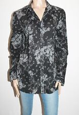 DIESEL Designer Mens Black Floral Cotton Long Sleeve Shirt Size L  #SJ09