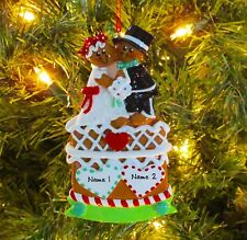 Gingerbread Couple Bride & Groom 1st Personalized Christmas Wedding Ornament