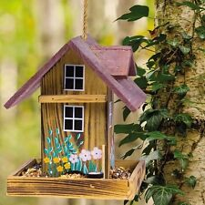 Wood Bird Feeder Garden Hanging House Nature Lovers Handmade Cedar Gifts Decor