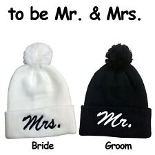 Bride & Groom The Cutest Wedding Hats Ever! Pom Pom Beanie Hats Mr. & Mrs.