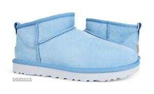 UGG Classic Ultra Mini Horizon Blue Fur Boots Womens Size 8 *NIB*