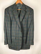 Patrick James Men's Sarno Silk Wool Linen Plaid 2 Button Blazer Jacket Size 42L