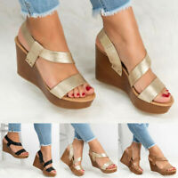 Womens Ankle Strap Wedge Platform Slingbacks Sandals Open Toes Slip-on PU Shoes