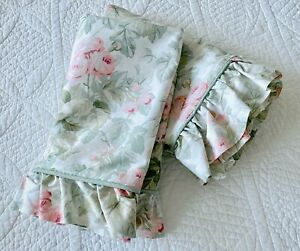 Laura Ashley Cottage Rose Pair Standard Ruffle Pillow Shams Floral Pinks & Green