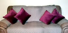 4 Velvet Feel Down Decorative Pillows In Purple Color. Used But In Good Cond