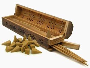 Wooden Incense Stick Holder Insence Box Burning Joss Insense Burner Ash Catcher