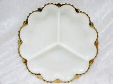 "Anchor Hocking Milk Glass Divided Dish (10"") vgc"