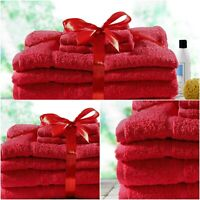 Luxury Red Gift Bale Set 100% Egyptian Cotton 6Pcs Towel Bundle Pack 500GSM