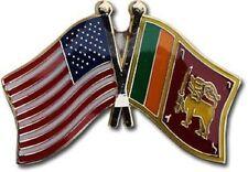 USA - SRI LANKA FRIENDSHIP CROSSED FLAGS LAPEL PIN - NEW - COUNTRY PIN