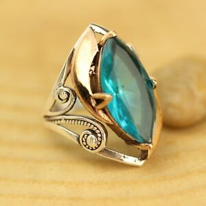 Dapper Old-Style Handmade Aquamarine Ladies Ring Size 6-12 925 Sterling Silver