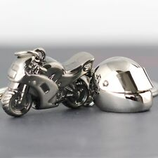 3d Metal Motorcycle Helmet and Superbike Keychain Combo