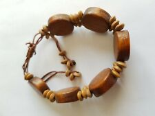 WOOD BEADED BRACELET, APPROX. 18cm, STRING TIE, GOOD CONDITION