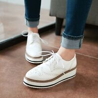 4 Colors Retro Oxford Womens Chunky Wedge Heels Brogues Lace Up Wingtip Shoes