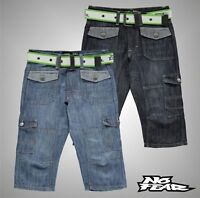 Boys No Fear Casual Belted Cargo Below The Knee Denim Shorts Sizes Age 7-13 Yrs