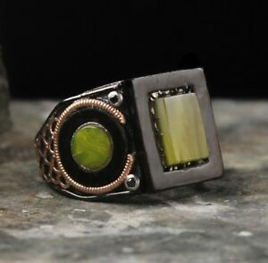 925 Sterling Silver Turkish Handmade Yellow Amber stone Mens ring ALL SİZE usa 3