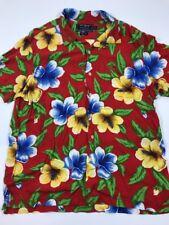 Vintage Polo Sport Ralph Lauren Hawaiian Floral Button Front Rayon Camp Shirt XL