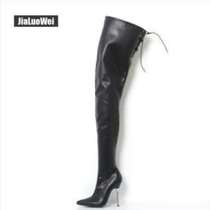 Sexy Women's Super Over Knee High Boots Leather Pointy Toe Stilettos High Heels