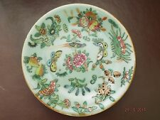 ANTIQUE CHINESE CELADON PLATE DECORATED WITH BIRD , BUTTERFLIES & FLOWERS, C1860