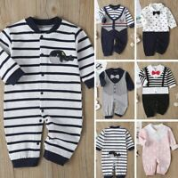 Newborn Infant Baby Boys Girls Gentleman Suit Striped Romper Jumpsuit Clothes