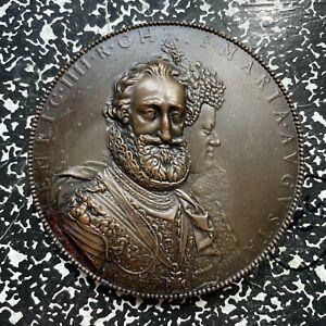 Undated Henri IV & Maria de Medici Massive Bronze Medal Lot#OV251 ~95mm