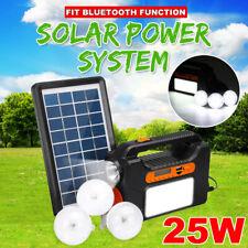 25W Pro Solar Power System Generator Solar Panel bluetooth Radio USB LED+ 3 Bulb
