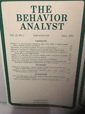 The Behavior Analyst, Vol 25, No. 2, Vol 26, No. 1-2, Volume 27, No. 2