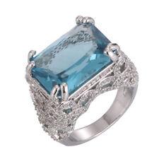 Hot 925 Silver Blue Topaz Gemstones Birthstone Hollow Wedding Rings Jewelry#6-10
