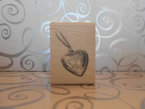 NEW INKADINKADO HEART LOCKET NECKLACE RUBBER MOUNTED WOOD BLOCK STAMP 60-00122