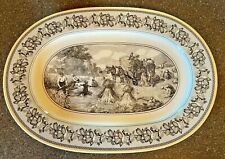 VILLEROY AND BOCH AUDUN FERME GERMANY LARGE SERVING PLATTER Yellow Gray Country