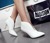 Women High Heel V-Cut Ankle Boots Ladies Point Toe Fashion Shoes Party Plus Size