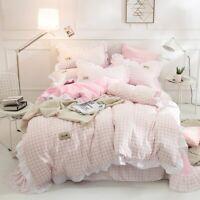 Japanese Pink Grid Ruffles Princess 3/4 Pcs Bedding Set Bed Sheet Duvet Cover