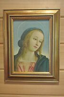 "Vintage Portrait of ""  HOLY MARY ""  With Large Wood Gold Frame"