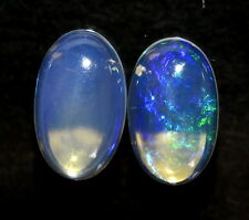 Natural Ethiopian Opal Oval Cabs Pair 10x6 mm 1.65 Cts Attractive Fire Gemstones