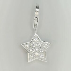 STAR pave with CZ - Christmas - Solid 925 sterling silver clip-on charm/pendant
