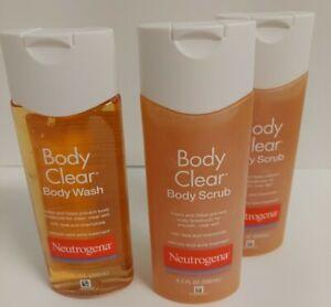 New 1 Neutrogena Body Clear Body Wash & 2 Body Scrub 8.5 oz each