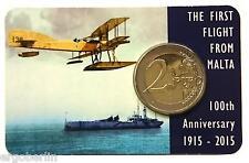 Moneta commemorativa MALTA 2015 UFFICIALE COINCARD 100 anni volo con segno