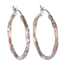 Echt 925 Silber Rosegold Creolen Ohrringe bicolor groß diamantiert Damen 30mm