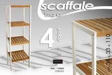 SCAFFALE H110*34*33 LEGNO 4RIPIANI BIANCO NATUR BAGNO CUCINA INGRESSO POC 719943