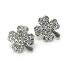 F2 Clear Crystal Shamrock Clover EARRINGS Irish Luck St Patrick Paddy Patty NEW