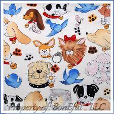 BonEful FABRIC FQ Cotton Quilt B&W Pet Puppy DOG Poodle Blue Bird Paw Print Sale