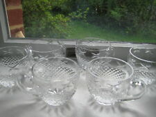 Diamond Cut Glass/Crystal Tea Coffee Cups Set of 6