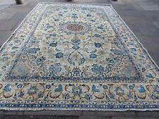 Vintage Worn Traditional Hand Made Oriental White Blue Wool Carpet 363x264cm