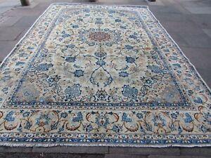 Vintage Worn Traditional Hand Made Oriental White Blue Wool Carpet 363x264cm